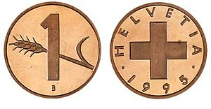 Rappen - The Swiss 1-rappen coin has not been valid since 2007.