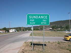 2003-08-16 Sundance, Wyoming city limit sign.jpg
