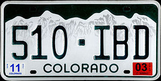 Transportation in Colorado - The basic design of Colorado's state license plate has been in use since 1960 (although not continuously until 1978), making it the second-oldest in the United States.