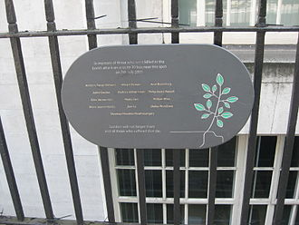 7 July 2005 London bombings memorials and services - A plaque commemorating the victims of the Route 30 bus during the 2005 London bombings