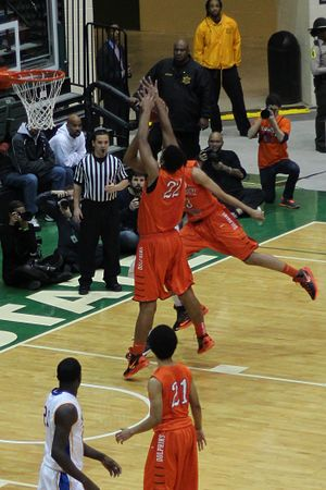 Double team - Image: 20130126 White Okafor doubleteam leads to Okafor block of Parker at Simeon Whitney Young game (2)