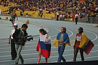 2013 World Championships in Athletics (August, 15) – Ekaterina Koneva (RUS) and Olha Saladuha (UKR) and Caterine Ibargüen (COL).JPG