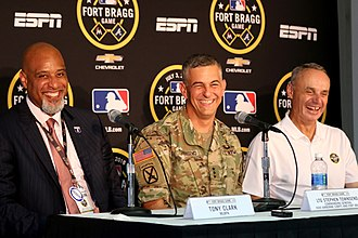 Fort Bragg Game - Tony Clark (left), Lt. Gen. Stephen J. Townsend (center), and Rob Manfred (right) at a pregame press conference