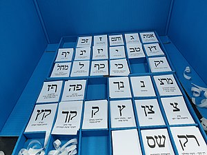 20190917 090750 Ballot papers in polling station in HaBiluyim School, Ramat Gan, Israel, September 2019 Knesset election.jpg