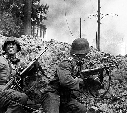 German soldiers of the 24th Panzer Division in action during the fighting for the southern station of Stalingrad 24. PzD Stalingrad 15 09 1942.jpg