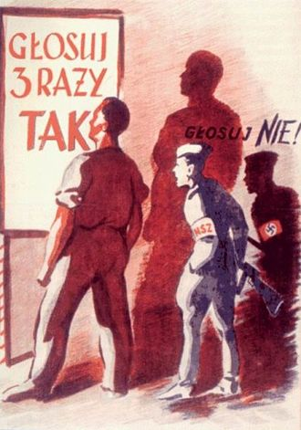 "Polish People's Republic - A propaganda poster enhancing to vote for Communist policies in the ""Three Times Yes"" 1946 referendum"