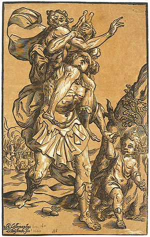 Ludolph Büsinck - Aeneas saving Anchises from the Burning of Troy, chiaroscuro wood engraving after Georges Lallemand.