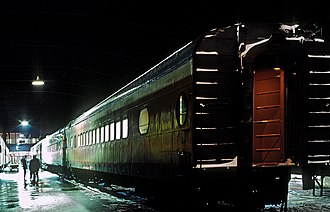 Chicago, Milwaukee, St. Paul and Pacific Depot Freight House and Train Shed - Several cars of the Olympian Hiawatha at the station on January 27, 1968.
