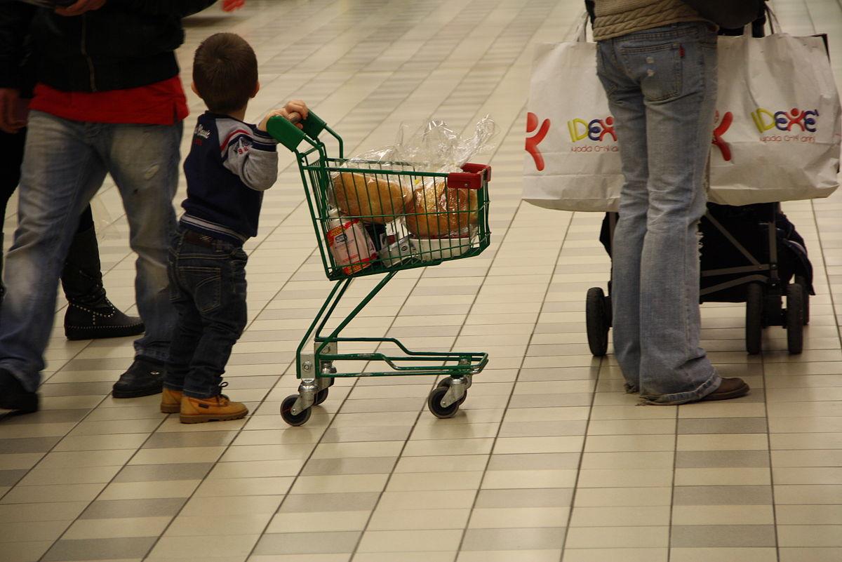 7074 - A baby contributes to his mom's shopping - Foto Giovanni Dall'Orto, Verbania, Jan 5 2011.jpg