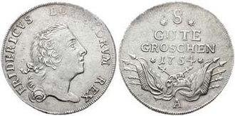 Johann Philipp Graumann - 8 Gute Groschen (⅓ Reichstaler)  von 1754, Münzzeichen: A, Münzstätte Berlin