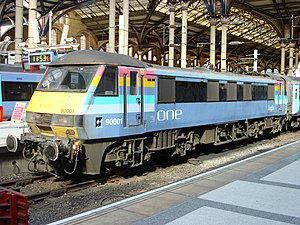 National Express East Anglia - One liveried Class 90 at Liverpool Street station in March 2007