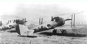 "95th Aero Squadron - ""Kicking Mule"" on the fuselage of squadron Nieuport 28s"