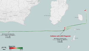 USS Fitzgerald and MV ACX Crystal collision - Course of MV ACX Crystal from 6/16/17 12:05 UTC to 6/17/17 3:00, showing presumptive point of collision with USS Fitzgerald at 16:30 UTC (1:30 a.m. Japan Time), south of Japanese mainland