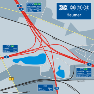 Overview map of the Cologne-Heumar motorway triangle