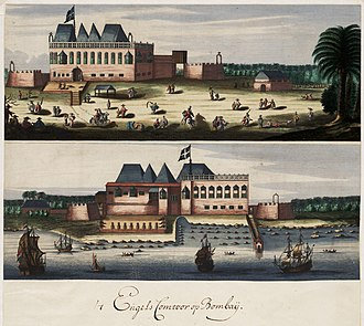 Mumbai - Two views of the English fort in Bombay, c. 1665
