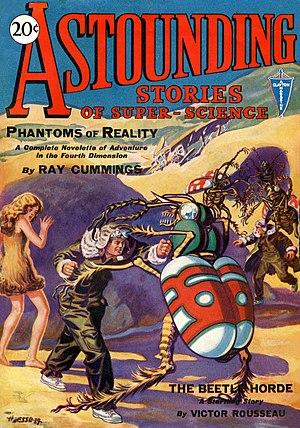 "Cover of the first issue of Astounding Stories of Super Science in January 1930. The cover advertises the story ""The Beetle Horde"" by Victor Rousseau."