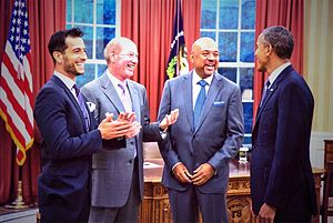 Tony Kornheiser - Tony Reali, Tony Kornheiser, and Michael Wilbon (left to right) meeting President Barack Obama.