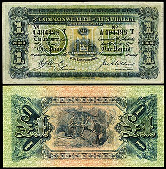 Australian pound - Image: AUS 4d Commonwealth of Australia One Pound (1918)
