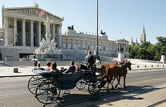 Horse and buggy - Horse and carriage in front of the Austrian Parliament, Vienna
