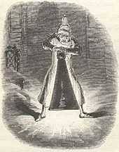 Scrooge pushing a large candle damper over the first ghost