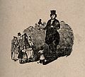 A giant holding a dwarf in his hand, with many spectators. W Wellcome V0007448.jpg