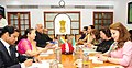 A parliamentary delegation from Mexico led by the President of the Chamber of Deputies of the Congress of Mexico, Ms. Guadalupe Murguia Gutierrez meeting the Speaker, Lok Sabha, Smt. Sumitra Mahajan, in New Delhi.jpg