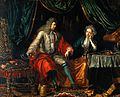 A physician feeling the pulse of a seated woman patient. Oil Wellcome V0017263.jpg