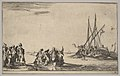 A rowboat full of men in center, a group of men standing on shore at left, a ship full of men, one firing a pistol, at right, from 'Set of eight nautical landscapes' (Suite de huit Marines) MET DP829697.jpg
