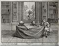 A scholar sits in his library reading beside two globes. Lin Wellcome V0024857.jpg