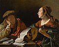 A young lady playing the lute to a young man reading, or An allegory of sight and hearing.jpg