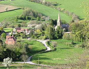 Worcestershire Way - St Mary's and village green, Abberley