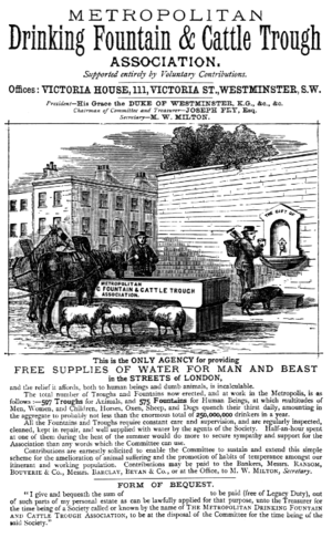 Metropolitan Drinking Fountain and Cattle Trough Association - An advertisement from Burke's Peerage, 1879.