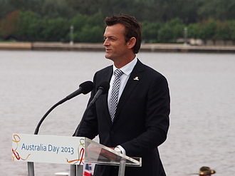 Adam Gilchrist - Adam Gilchrist speaking at the 2013 National Flag Raising and Citizenship ceremony in Canberra