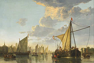 Aelbert Cuyp - The Maas at Dordrecht, circa 1650, showing the Maas River in front of Cuyp's hometown of Dordrecht, National Gallery of Art.