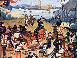 La bataille d'Azincourt, représentée sur une miniature du XVème siècle.