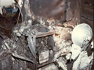 Air Canada Flight 797 - Fire damage in the aft lavatory, the point of origin of the fire.