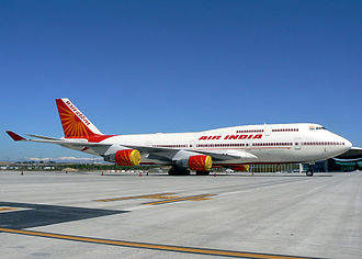 Air India One - One of Air India Boeing 747-400 aircraft, used during the Indian President's trip to Madrid as Air India One.