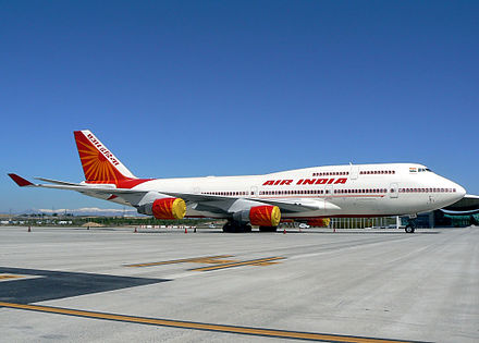 An Air India Boeing 747-400 aircraft used as Air India One Air India 001.jpg