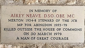 Airey Neave - Memorial plaque to Airey Neave at his alma mater, Merton College, Oxford