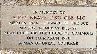 Irish National Liberation Army - Memorial plaque to Airey Neave at his alma mater, Merton College, Oxford
