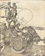 Albrecht Dürer, The Triumphal Chariot of Maximilian I (The Great Triumphal Car) (plate 2 of 8), 1523 (Latin ed.), NGA 57604.jpg