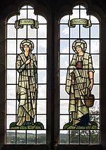 All Saints church, Preston Bagot - Mary and Martha stained glass windows 2016.jpg