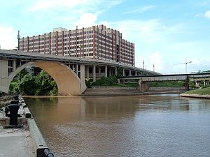 White Oak Bayou - White Oak Bayou and Buffalo Bayou at Allen's Landing, with the University of Houston–Downtown in the distance.