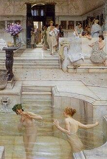 Rappresentazione di donne romane alle terme, da un dipinto di Lawrence Alma-Tadema