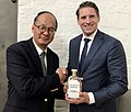 Ambassador of Japan His Excellencey Mr Reiichiro Takahashi with Tattarang Springs Distilling Co Vodka from Canning March 21 2019.jpg