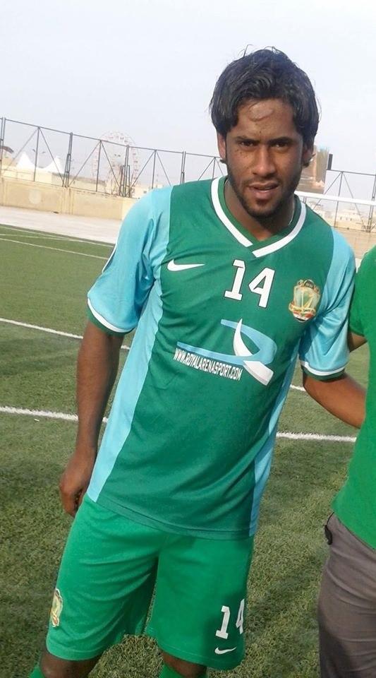 Amjad Kalaf in Al-Shorta kit after match with Al-Samawa, 26 April 2014