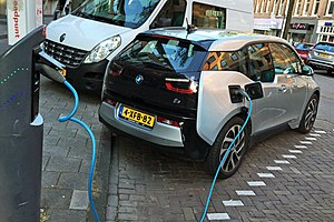 Plug-in electric vehicles in the Netherlands - BMW i3 charging in Amsterdam.