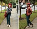 An ASOS Work Outfit - Skinny Colored Pants, Navy Blue Bow Blouse, and a Brown Biker Jacket (22110952793).jpg