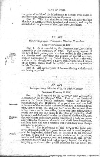 Women's suffrage in states of the United States - An Act Conferring upon Women the Elective Franchise, enacted February 12, 1870