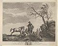 An accident while traveling, a kneeling man fixing a broken saddle, a horse pissing at the left MET DP837529.jpg